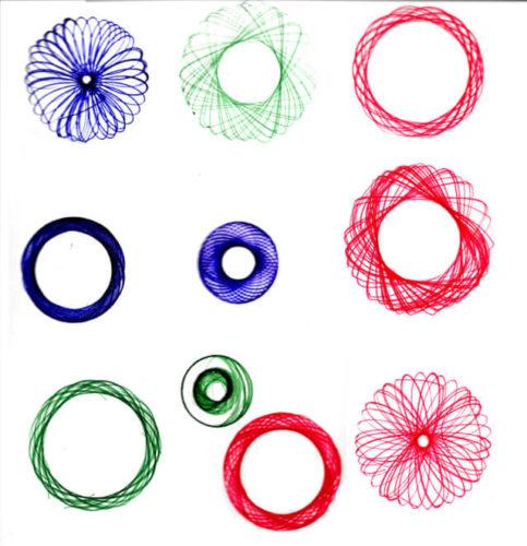ダイソーのくるりんデザイン定規で描いた幾何学模様