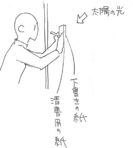 窓の光でトレースする方法を描いた絵