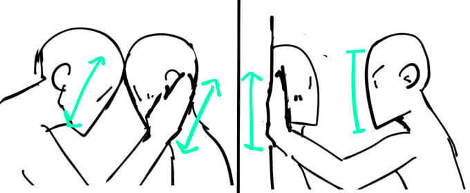 相手の顔に合わせて手を描く方法
