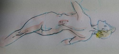 タチカワのスクールGペンで描いて水彩で着色した女性の絵