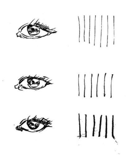 スクールGペンで強弱をつけて描かれた複数の目の絵