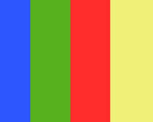 青と緑と赤と黄色の縦じまの画像