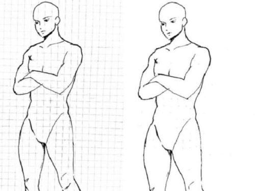 スキャンした後の調整前と調整後のイラストの比較