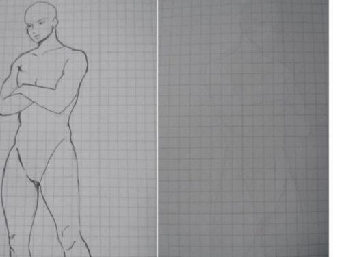 エトランジェディコスタリカノートに描いたイラストとそれを裏から撮った写真