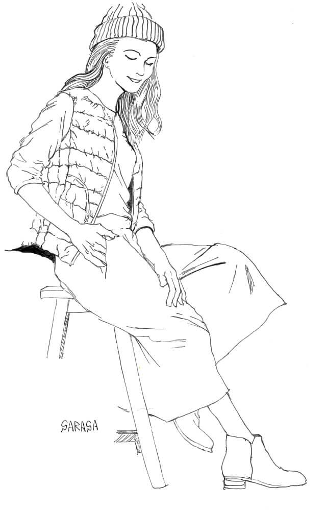 サラサ0.3で描いた女性のイラスト