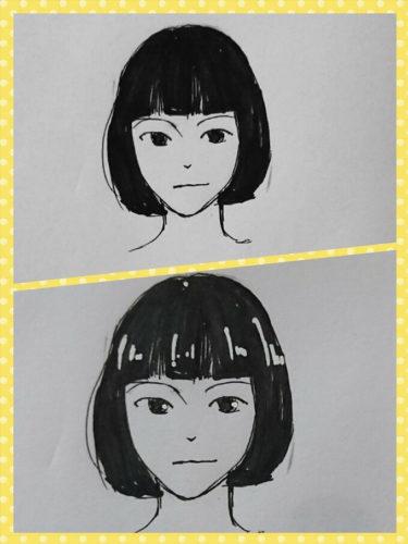 ポスカで少女の髪にハイライトを入れた画像