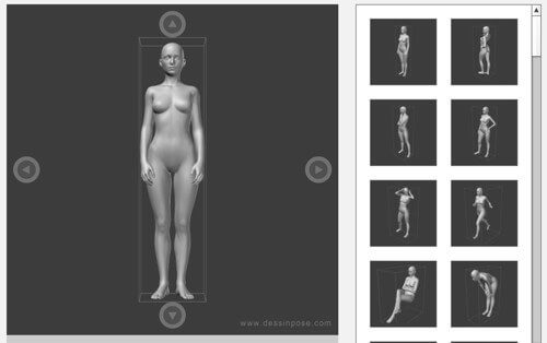 複数のポーズ練習が出来るポーズビューワの女性の画像